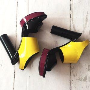 Pour La Victorie Yellow Black Patten Leather
